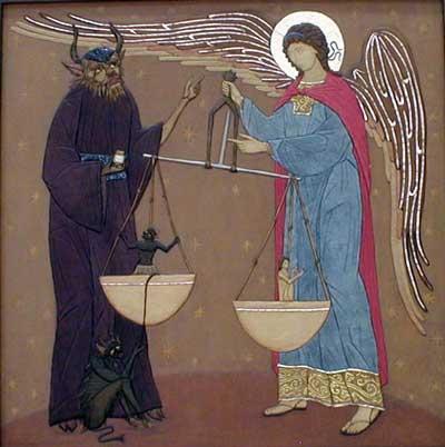 Архангел Михаил и диавол взвешивают души